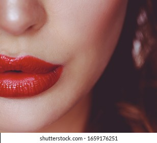 Beautiful woman skin with red lips on white background