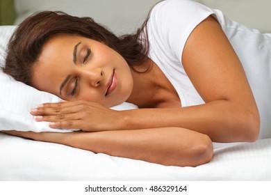 Beautiful woman sleeping in the bedroom.