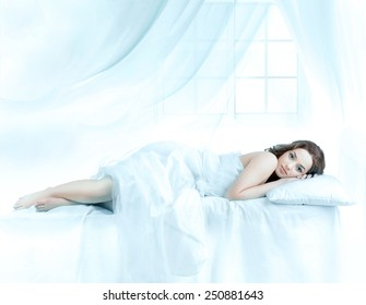 Beautiful woman sleeping front of the window