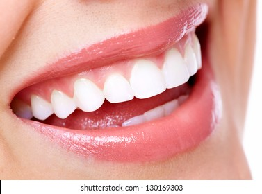 Beautiful woman smile. Dental health care clinic.