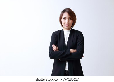 Beautiful woman smiling Businesswoman, on white background