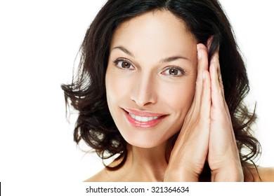 Beautiful woman smiling - close up. White background.