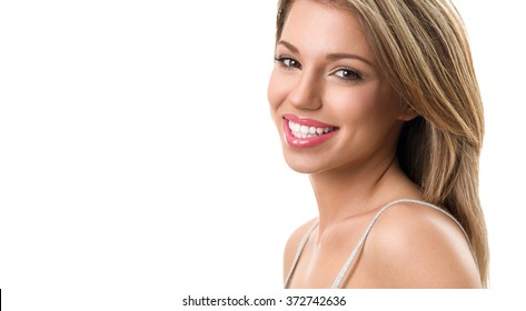 Beautiful woman smiling with healthy teeth