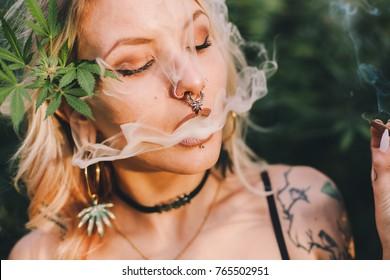Beautiful Woman Smoking Cannabis