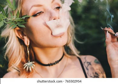Beautiful Woman Smoking Cannabis