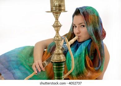 beautiful woman smoking water pipe