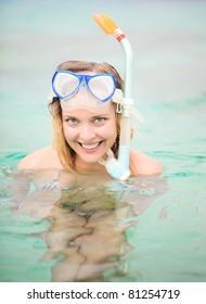 Beautiful woman snorkeling. Gili islands, Indonesia.
