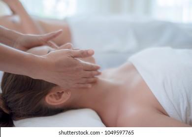 beautiful woman in spa salon
