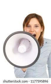 beautiful woman speaks loudy in megafone