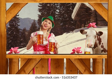 Beautiful woman standing behind a bar serving beer and image in retro finish with old scratches
