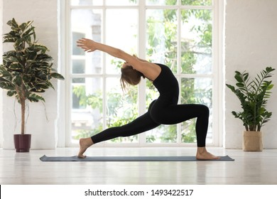 Beautiful woman standing in Warrior one pose, practicing yoga, doing Virabhadrasana exercise, sporty girl wearing black sportswear working out at home or in yoga studio with big window and plants