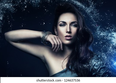 beautiful woman in star dust