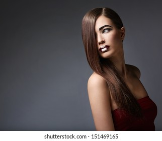 Beautiful woman in studio