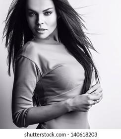 Beautiful woman. Studio black-white photo.