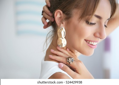 Beautiful woman with stylish accessories, closeup
