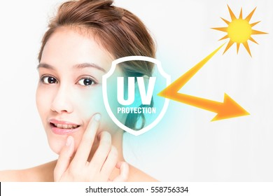 beautiful woman and sunscreen, UV protection.