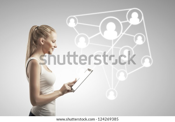beautiful woman with tablet computer, social network concept