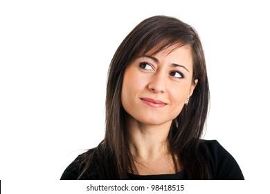 Beautiful woman thinking isolated on white