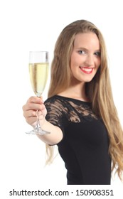 Beautiful woman toasting with champagne isolated on a white background