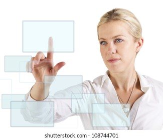 Beautiful woman touching  a screen with finger