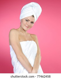 beautiful woman with a towel on a head