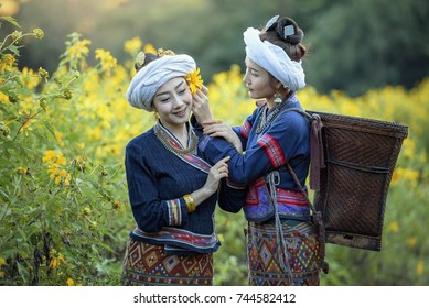 Beautiful woman in traditional dress costume lanna style ,Chiangmai Thailand