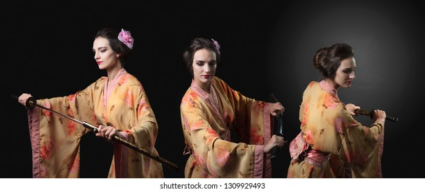 Beautiful woman in traditional Japanese  kimono with katana. Attractive girl with Japanese  sword katana. Girl pulls the sword from its sheath, merged three images.