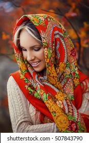Beautiful woman in traditional Russian shawl