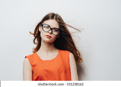 a147048136 Beautiful woman in a transparent fashion glasses