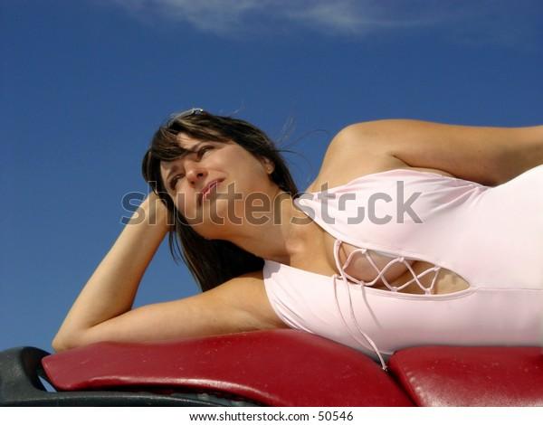 Beautiful woman at the tropical resort