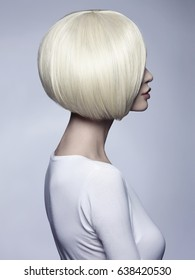 Beautiful woman with unusual bob hairstyle.blonde model girl