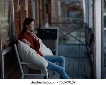 beautiful woman, veranda