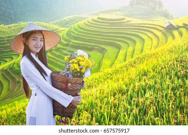 beautiful woman with Vietnam culture traditional dress, Ao dai and holding lotus on Rice fields on terraced of Mu Cang Chai, YenBai, Rice fields prepare the harvest at Northwest Vietnam.