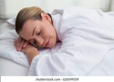 beautiful woman waiting for massage