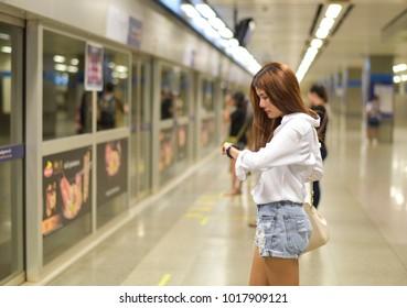 Beautiful woman is waiting someone coming