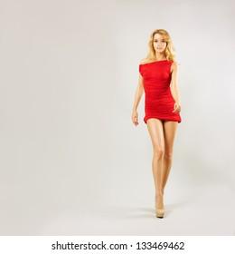 Beautiful Woman Walk in Red Dress