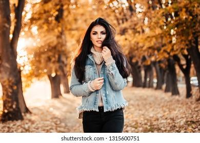 Beautiful woman walking in the park.