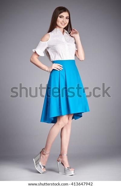 Beautiful Woman Wear Skirt Blouse Silk Stock Photo Edit Now 413647942