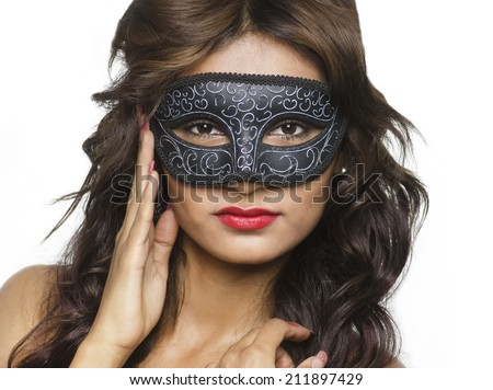 985e95d05e501 Beautiful woman wearing mask - mardi gras or venetian style isolated  against white
