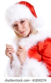 beautiful woman wearing santa claus clothes on a white background