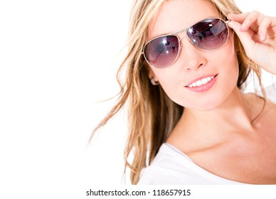 Beautiful woman wearing sunglasses - isolated over a white background