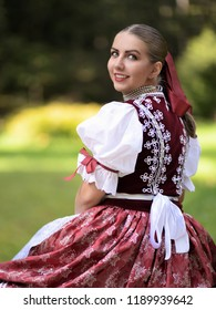 Beautiful woman wearing traditional Eastern Europe folk costumes. Slovak folk costumes.