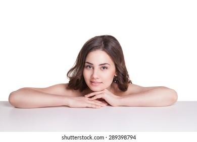 Beautiful  woman wearing white towel