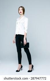 Beautiful woman in white blouse