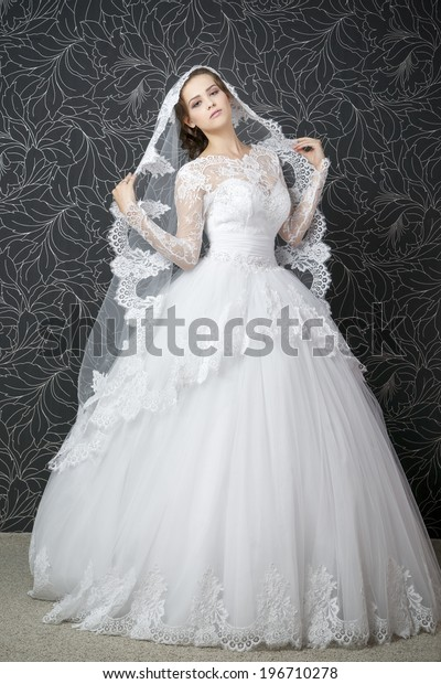 Beautiful Woman White Wedding Dress Professional Stock Photo Edit