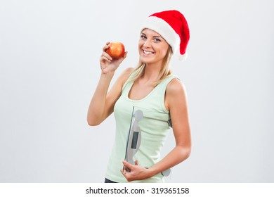 Beautiful woman will not have problems with her weight after holidays because she will continue to exercise and eat healthy.Healthy and fit for holidays