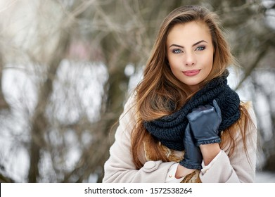 Beautiful  woman in winter - close up portrait