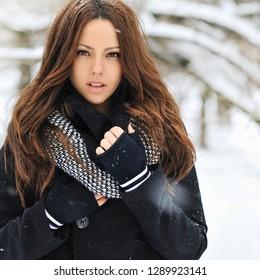 Beautiful woman winter portrait - close up