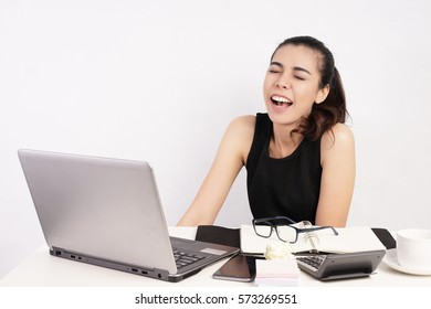 Beautiful Woman Woking at Desk, Crazy and Laughing, Working Concept