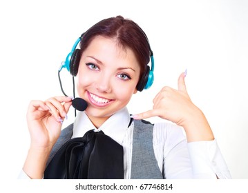 beautiful woman  working in the call-center   and showing a CALL ME sign
